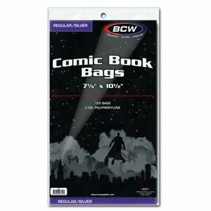 """200 - BCW Regular / Silver 2-Mil Polypropylene Comic Book Bags 7-1/8"""" x 10-1/2"""""""