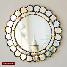 "Decorative Accent Round Mirror For wall 17.7in ""Cuscaja Gold"", Peruvian Mirror"