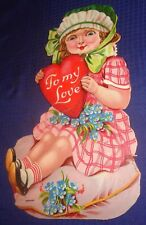 SE943 Vtg Germany German Greeting Card Valentine w/ Mechanical Movable Wheel