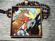 Pokemon Card Pendant Keychain Necklace cosplay go legendary entei movie promo
