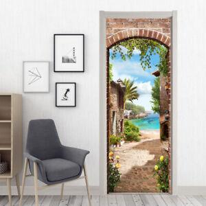 3D Scenery Wallpaper Wall Door Sticker Self-Adhesive Home Room Mural Decal Decor