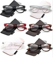 2 Pack Reading Glasses in Pouch Retro Readers Men Women Classic Stylish Look