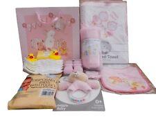 BNWT Baby girls Hospital baby shower gift bag bathtime hooded towel teddy rattle