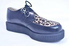 TUK A6808 ROCKABILLY BLACK SUEDE LEOPARD CREEPERS NOS UK 8 US 9 WMN 11 GOTH PUNK