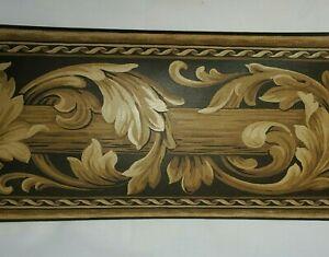 Wallquest Black & Gold Leaf Wallpaper Border Scroll Swag Drapery Valance Drape