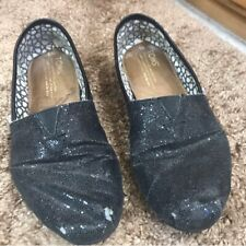 Toms size 6 womens Black Glitter Sequin Flats