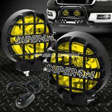 "6"" ROUND BLACK HOUSING YELLOW FOG LIGHT/OFFROAD SUPER 4X4 GUARD WORK LAMP+SWITCH"