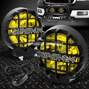 "6"" ROUND BLACK HOUSING YELLOW FOG LIGHT/OFFROAD SUPER 4X4 GUARD WORK LAMP+SWITCH"