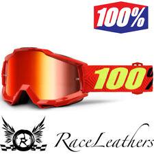 100% PORCENTAJE ACCURI Saarinen Motocross motos MX GOGGLES Rojo Lentes Espejo