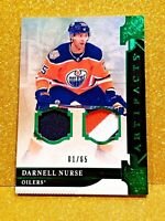 2019-20 UD Artifacts Darnell Nurse GREEN EMERALD DUAL PATCH / Jersey /65 Oilers