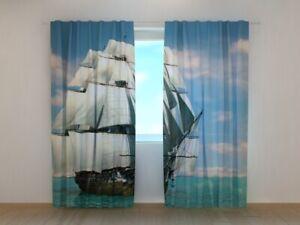 Fotogardine großes Segelschiff, Vorhang mit Motiv, Digitaldruck, Gardine auf Maß