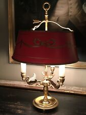 Large Antique Vintage Gilt Bronze Bouillotte Table Lamp ,red Swaggered Shade