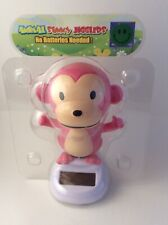 Solar Power Swing Dancing Toy Pink Monkey Home Car Decor Gift