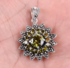 FLOWER MARCASITE .925 SOLID STERLING SILVER PENDANT #22901
