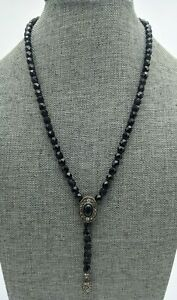 Signed Monet Silver Tone Glass Faceted Bead Dangling Cabochon Pendant Necklace