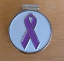 "PURPLE RIBBON Alzheimer's ~ Pancreatic Cancer ~ 1"" Golf Ball Marker & Hat Clip"