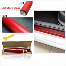 Car 4D Carbon Fiber Protecter Sticker Red Door Sill Scuff Pedal Threshold Cover