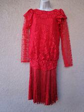 Vintage 1920s Flapper Style Red Lace Dress w/ Fringe Drop Waist Costume Modest M