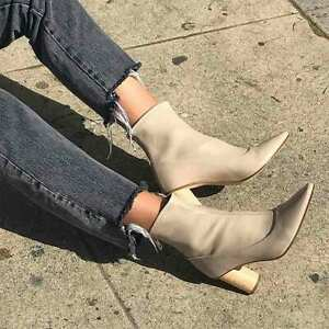 BNIB LOQ Vero Ankle Boot in Black Calf Leather Wood Block Heel EU 38 / US 8
