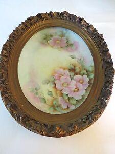 Vintage  Ceramic  Multicolor Floral  Wall Hangers . Wood  Frame.