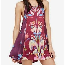 FREE PEOPLE S Tunic Dress DREAM TRAPEZE Floral Pockets Seams Silky Wine Top NWT