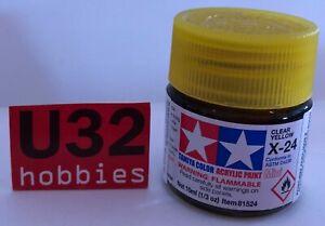 Tamiya 81524 X-24 Painting Acrylic Yellow Translucent For Model 10Ml
