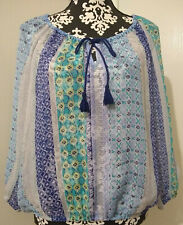 Arizona Jeans Large Sheer Boho Tie Neck 3/4 Sleeve Elastic Waist Shirt Top