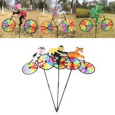 Lovely 3D Animal on Bike Mulino a vento Spinner Whirligig Garden Garden Yard#