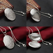 925 Silver Plated Round Locket Flower Pendant Box Necklace  Snake Chain Jewelry