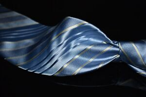 Valentino Made in Italy Crystal Blue Satin Gold Multi Texture Stripe Silk Tie NR