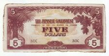 THE JAPANESE GOVERNMENT FIVE DOLLAR WWII BANKNOTE Invasion Money K-647