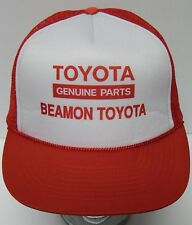 Vtg 1980s TOYOTA GENUINE PARTS BEAMON Auto Advertising Snapback Trucker Hat Cap
