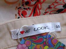 LOVE LOOK SheerL/sNudeEthnicPrintShirtSzS NWT
