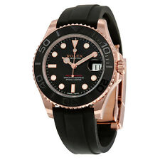 Rolex Yacht-Master Automatic Black Dial 18kt Everose Gold Rubber Strap 37mm