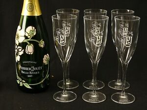 6 Fine French Crystal Champagne Flutes Perrier-Jouet France - NEW