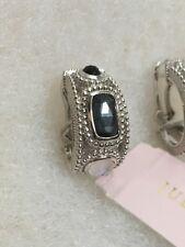 JUDITH RIPKA 925 Sterling Silver Hematite Mother of Pearl Doublet Onyx Earrings