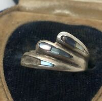Vintage Sterling Silver Ring 925 Size 5 Adjustable Shell Abalone Mexico