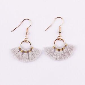 New Bohemian Small Rainbow Tassel Hoop Earrings Fan Tassels Shaped Women Jewelry