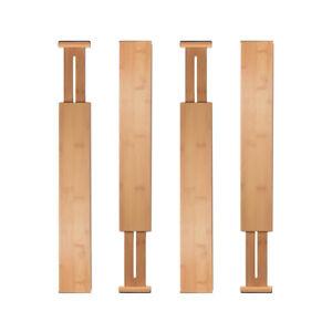 4Pcs Adjustable Expandable Bamboo Drawer Dividers Organizers Separators Prop Ndh