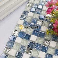 blue color stone mixed glass mosaic tiles kitchen backsplash bathroom wall tile