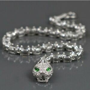 12.50CT Brilliant Diamond & Emerald 14K White Gold Finish Cobra Tennis Bracelet