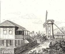 W INDIES. Guadeloupe. Terreins mouillés; Maison sur piliers; Moulin sucre 1835