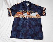 New Hawaiian Shirt Men Blue Tropical Beach Large Button Cotton Print never used