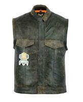 Men SOA Distressed Brown Motorcycle biker Cow Leather Vest gun Pocket -10%