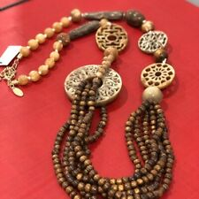 NWOT CHICO'S Chunky Carved Caramel Brown Beaded Multi Strand STATEMENT NECKLACE