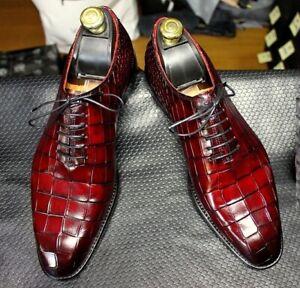 Handmade Mens Burgundy Alligators shoes, Men Crocodile Patterned dress shoes