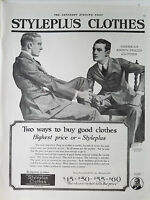 1920 Vintage MENS Styleplus Clothes Original Fashion Clothing Ad