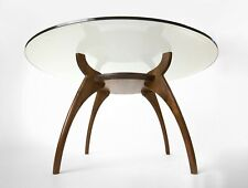 Round Glass Walnut Mid Century Modern Coffee Table