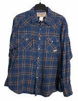 Mens Wrancher Wrangler Plaid Pearl Snap long Sleeve Blue Western Wear Shirt 2XL