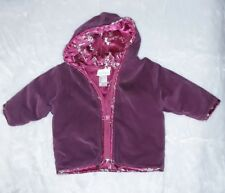 Baby Guess Infant Girls Burgandy Hooded Zip Up Jacket Size 18 Months